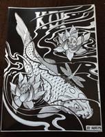 Wholesale Tattoo Book Carp - Japanese Tattoo Flash Designs Book by Horimouja Jack Mosher A4 Vol.1 the carp fish Design Sketch Flash Tattoo Book