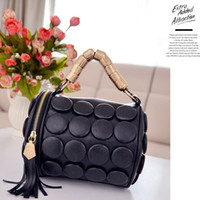 Wholesale Decorative Mini Bags - 2016 new fashion pu handbag Korean version of casual shoulder bag hand buttons decorative tassel package drums