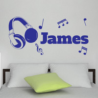 Wholesale Headphones Wall Decal - Personalised Any Name Vinyl Wall Sticker DIY Headphones Music Notes Art Decal for Room Decor