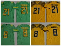 oegon canards football achat en gros de-2017 New Oregon Ducks College Maillots de Football 21 Royce Freeman 8 Marcus Mariota Maillots Stitched Football Shirts