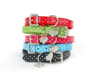 Gros-5 couleurs Collier Polka Dot Pet petit chien Puppy Perro PU cuir strass Boucle Charm Pendentifs