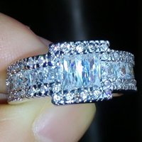 Wholesale Men Rings Gem - size 8 9 10 11 Luxury Princess cut 10KT white gold filled white topaz Gem simulated diamond women men Wedding Ring gift with box