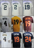 Wholesale Wil Myers - San Diego #2 Johnny Manziel 4 Wil Myers 19 Tony Gwynn 24 Rickey Henderson White Blue Red Gold Throwback Retro 1982 Stitched Jersey