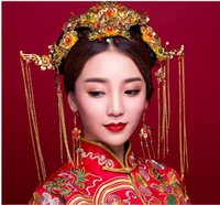 Wholesale Chinese Silk Costume - Blue Princess Bride Wedding dress show Chinese retro dress gown dragon hair Coronet Wo costume suit headwear accessories