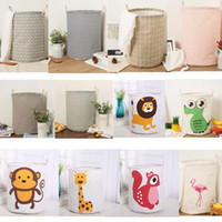 Wholesale Linen Storage Baskets - Christmas Storage Baskets INS Bins Kids Room Toys Storage Bags INS Storage Basket Bucket Clothing Organizer Laundry Bag Linen Cartoon SF187