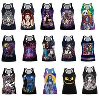 Wholesale Skull Blouse Wholesale - Halloween Gothic Skull Print Blouse Vest T Shirt Tops Singlet Women Girl Sleeveless Strechy Bodycon Blouse OOA3414