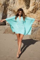 Wholesale Poncho Bikini - Sexy Women Mint Linen Batwing Bikini Coverup Floral Crochet Piping Poncho Mini Dress Hollow Out Wrap Dresses Smooth Boho Beachwear 865
