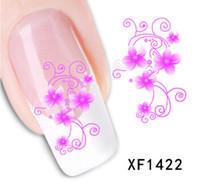 дизайн розовых ногтей оптовых-Nail Art переноса воды цветок лук дизайн ногтей наклейки наклейки DIY французский маникюр фольги штамповка инструменты Xf1422-1441 JIA050
