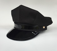 Wide Brim Hat black military officers - Black Point Octagon Police Force Hat Cap Cop Military Officer Party Costume Uniform