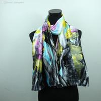 Wholesale Paint Scarf - Wholesale-Floral Flower Women Fashion Satin Oil Painting Long Wrap Shawl Beach Silk Scarf 160X50cm style 1-20