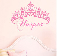 Wholesale Princess Crown Stickers - New 2014 Baby Girl Crown Wall Decal Princess Name Nursery Vinyl Wall Sticker Wall Art For Kid Room Decor