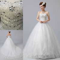 Wholesale Images Sweet Heart Neck - 2015 lace Wedding Dresses Bridal Gown 2016 A line Actual Image Ball Gown With Sweet-heart Beads Crystals Tulle Handmade Lace Up Court Train