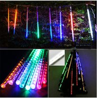 Wholesale Xmas Led Meteor - Meteor Shower Rain LED Light Tubes 100-240V EU US Plug Christmas Outdoor Lights 30cm 50cm 8 Tube Waterproof Party Xmas Fairy Led Light