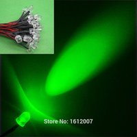10MM Led Green Pre-Wired Resistance 12v Emitting Diod Round Top 20 CM 100 pcs / lot 12V DC Diodes Led LampLight pour DIY