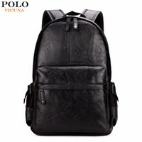 Wholesale College Backpacks Men - VICUNA POLO Famous Brand Preppy Style Leather School Backpack Bag For College Simple Design Men Casual Daypacks mochila male New