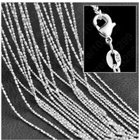Wholesale-2016 Moda nova 10pcs / lot 1mm 16/18/20/22/24/26/28/30 inch Unisex Necklace Charms 925 Sterling Silver Ladys Chain Jewelry SH3
