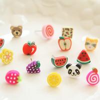 ohrringe fimo großhandel-72pcs / 36pairs Mädchen Kinder Schöne Lebensmittel Früchte kawaii Anime Ohrringe Handmade Fimo Polymer Clay Ohrstecker mit Geschenk-Box