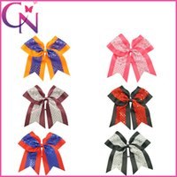 Wholesale Bling Bow Hair Bands - 18 pcs lot 8 inch Boutique Bling Sequin Cheer Bows 6 Clors Solid Grosgrain Ribbon Baby Girls Cheerleading Bows With Elastic Band