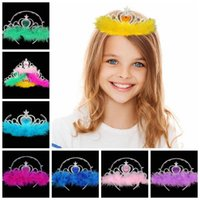 Wholesale Feather Hair Comb Wholesale - kids feather crown Girls Hair Accessories imperial kids girls rhinestone crown Children Cosplay Coronation baby feather crown KKA3548