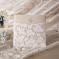 Wholesale Printable Lace Invitations - Printable New Wedding Invitations White Lace Hollow Invitation Cards Foil Stamping Uneven 150*150mm 250g Paper Wedding Party Favors