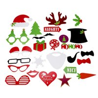 Wholesale Bag Booth - 1Set 27pcs DIY Photo Booth Props Mustache Lip Stick Wedding Christmas New Year Party Accessories Opp Bag