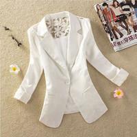 Wholesale Suit Elegant Ladies - 2015 New 5 Colors Women Blazer Elegant Spring Autumn Candy One Button Crochet Lace Ladies Suit Jacket Blazer Coat Clothing 1709