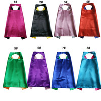 Plain Color 70*70cm 2layer kids superhero cosplay costume satin cape Halloween Cosplay Superhero Capes for kids