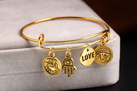 Wholesale Alex Ani Bracelet Initial - Alex&Ani antique gold plated simple wiring Alex and Ani Initial crystal strength charms bead Bangles luckly bracelet DIY Jewelry