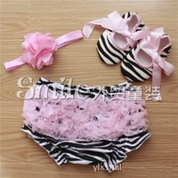 Wholesale Baby 3pc Sets - NEW ARRIVAL baby girl infant toddler 3pc sets zebra flower floral print chiffon lace bloomers shorts short pants + headband + shoes 3sets