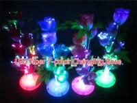 ingrosso matrimonio lampada notturna-Free EMS 60pcs 7-Color Changing LED Rose Fibra ottica Night light Lampada Multicolor Decorazione centrotavola festa di nozze Disco