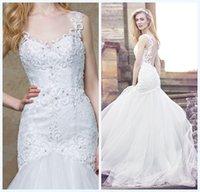 Wholesale Ellis Wedding Dresses - Ellis New Modest Lace Wedding Dresses Applique Beads Sheer Neck Jewel Low Back Floor Length Mermaid Wedding Gowns Fall Winter