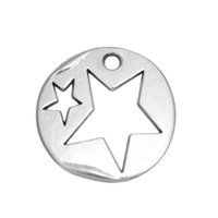 Wholesale Silver Star Charm Pieces - 50 Pieces lot Zinc Alloy Antique Silver Plated Stars In Disc Pendant Charms For DIY Jewelry Findings & Components Charms