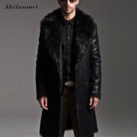 Wholesale 7xl winter coats - Wholesale- Fashion Men Winter Fur Leather Jacket Long Coats Both sides snow wear Waterproof Reversible Men Overcoat Male Plus size 7XL 6xl