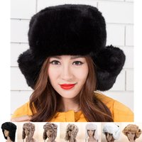 Wholesale Russian Cossack Hat Black - Wholesale-New Russian Cossack Style Ladies Winter Warm Faux Fur Trapper Headband Hat Snow Ski Women Bomber Beanie Protect Earflap Cap
