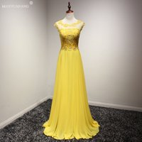 Wholesale Cheap Sheer Nylons - 100% Real Photo A Line Dresses Evening Wear Yellow Cap Sleeves Beaded Shiny Sexy Cheap Prom Dresses Long In Stock Formal Dress Gown