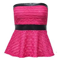 Wholesale Black Tube Skirt L - Three-dimensional jacquard fight PU leather short skirt Tube Tops White Black S   M   L