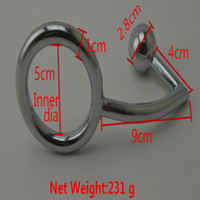 Wholesale cock ring stainless steel butt plug online - Stainless Steel Anal Hook With Ball Cock Rings Metal Anus Butt Plug Male Penis Rings Fetish Erotic Sex Products For Men