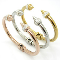 Wholesale Stainless Steel Taper Sets - Fashion Brand Women Punk Bracelet Retro Double Arrow Tapered Titanium 18K Gold Plated Silver Rhinestone Rivets Nail Cuff Bangle