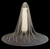 Wholesale Diamond Bead Ivory Wedding Veils - Luxury Cathedral Bridal Veils With Crystal Edge Crystals Diamond Top Wedding Veil White Ivory Bling Bling Bridal Accessories