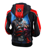 Wholesale Cool Assassins Creed Hoodies - Anime Game assassins creed Hoodie Autumn Winter Zipper Wool Fleece Sweatshirts Men's Cool Hoodies S M L XL XXL XXXL Free Shipping