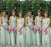 Wholesale Perfect Prom Style - Perfect Matching 3 Styles Long Mint Chiffon Bridesmaid Dresses One Shoulder A-line Floor Length Chiffon Bill Levkoff Wedding Party Prom Gown