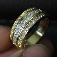Wholesale Popular Wedding Bands For Men - Size 8,9,10,11,12 Jenny G Jewelry Popular White Sapphire Gemstone 10KT Yellow Gold Filled Cocktail Band Ring for Men