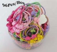 Wholesale Mix Box Fashion Accessories - Fashion Headwear Hj0096 Novelty Bands Elastic Mix Colors 96pcs Box (12pcs Pack *8 ) Dia 4cm Ponytail Hair Band Girl's Hair Accessories