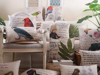 Wholesale Vintage Orange Sofa - Watercolor Painting Birds Flowers Cushions Pillows Covers European Vintage Bird Parrot Owl Cushion Cover Sofa Seat Linen Cotton Pillow Case