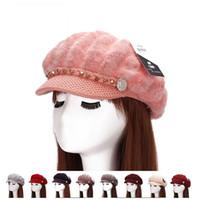 sombreros señoras boinas venta al por mayor-Sombrero de piel de conejo Fashion Lady Rivet Knit Beret para mujeres Multi Color Beanie Keep Warm Hot Sale 13 8dh C
