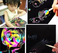 Wholesale Painted Paper Art - 2017 New Arrive 10 Sheets 16K Colorful Scratch Art Paper Magic Painting Paper Plus Drawing Stick Kids Christmas Gift Toys