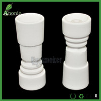 Wholesale Ceramic Nail Designs - Universal Domeless Ceramic Nails Direct Inject Design Fits Both 14mm 18mm 2 in 1 Female Joints Glass Ceramic Domeless Nail Banger Nail