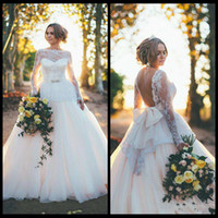Wholesale Bow Dress Victorian - Sexy Backless Wedding Dress 2015 Ball Gown Long Sleeve Lace Bow Organza Bateau Sheer Neck Victorian Wedding Dresses 2016 Custom Made