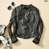 Wholesale Leather Cropped Woman Biker Jacket - New Fashion Women Faux Leather jacket ;Zip-Up,Cropped PU Leather Jacket, Biker Jacket women coats black ch2610