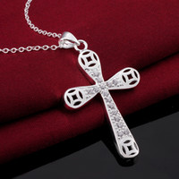 Cross Styles colares Cool Romantic 925 Pure silver N569 gift women men Moda New Jewelry Brincos de Prata
